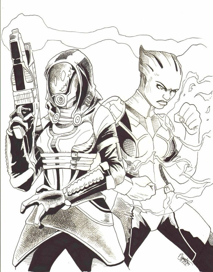 Line Art Effect : Mass effect line art by jerry bennett video games