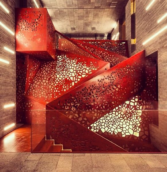 #QualityFirst #HomeImprovement #Construction #Remodel #Pinterest #HomeRemodel http://www.QualityFirstHomeImprovementReviews.com  These extravagant stairs give the room an air of modernist whimsy.