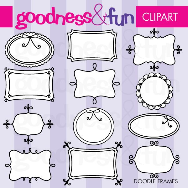 The doodle frames are fun and frilly for your crafting projects. Perfect for embroidery and scrapbooking, too!  You'll receive 12 fun frame graphics in four formats 300dpi PNG with transparent background (filled in and outline only), JPG and EPS format.