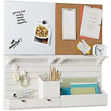 Martha Stewart Home Office with Avery Wall Manager Drawer Set, Chalk White