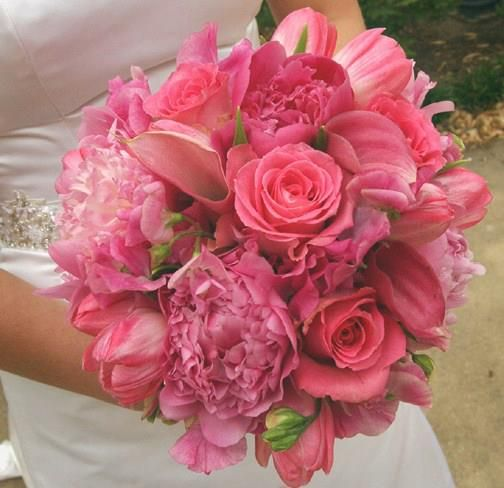 Pretty Pink Bridal Bouquet Mixing Premium Flowers And Luck Roses