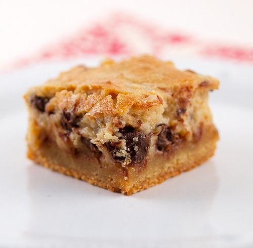 Pecan Chocolate Chip Gooey Butter Cake ~ The base is buttery and moist ...