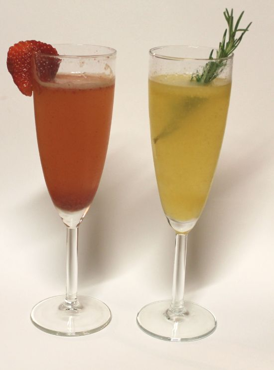 strawberry balsamic bellini & rosemary peach bellini