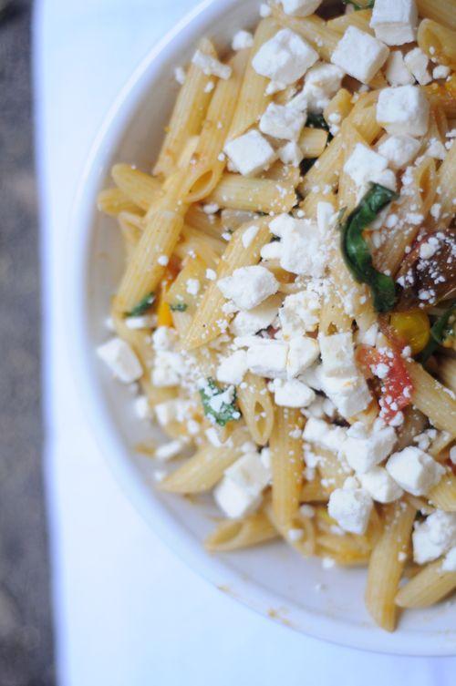 Heirloom tomato pasta with fennel, swiss chard & ricotta salata