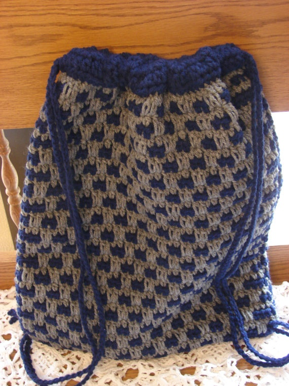 Crochet Drawstring Bag : Crochet Blue and Gray Drawstring Bag or Backpack