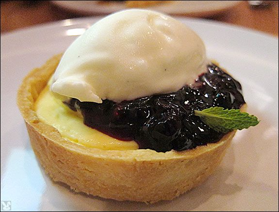 ... sounds amazing: lemon tart with huckleberries and mascarpone sorbet