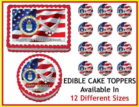 Edible Cake Images Air Force : US AIR FORCE Edible Cake Image Cupcake Topper Quarter Half ...