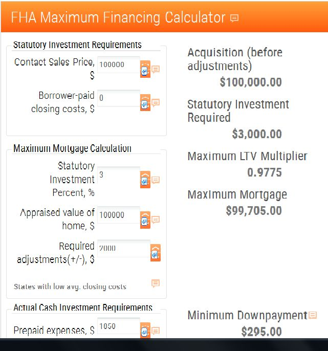 fha maximum financing calculator mortgage calculator