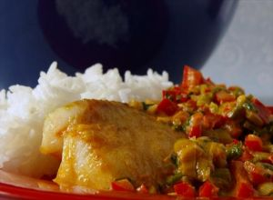 Broiled Tilapia with Thai Coconut – Curry Sauce