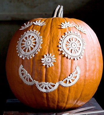 "Check out this adorable way to decorate a pumpkin!   I call it a ""crocheter's jack-o-lantern!"".   :)  -Lee Ann H  Http://cgli.us  Crochetgottaloveit.blogspot.com"