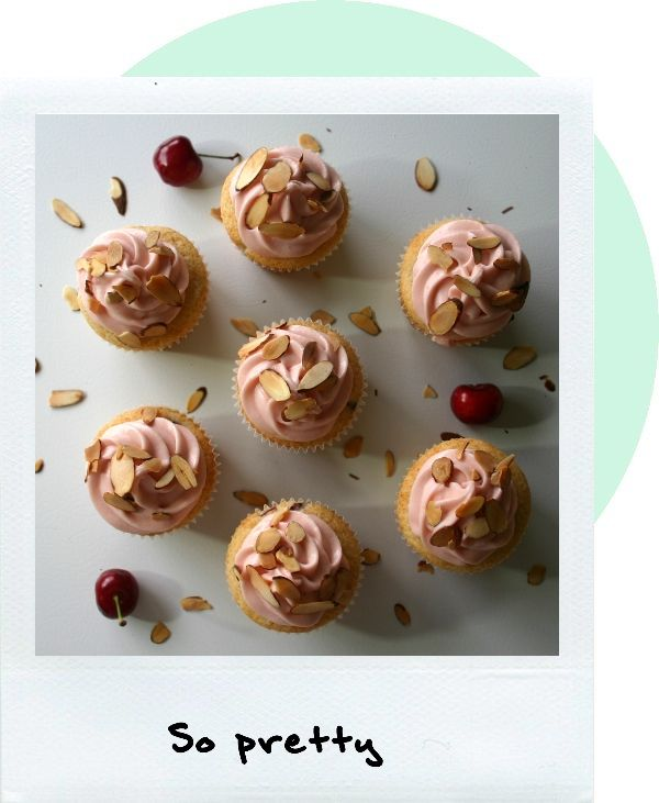 Cherry Almond Cupcakes with Cherry Cream Cheese Frosting
