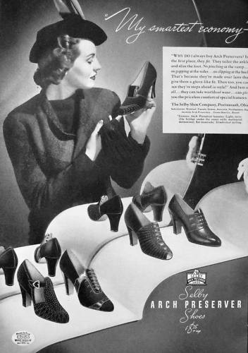 Selby Arch Preserve Shoes ad, 1938. #vintage #shoes #fashion #1930s