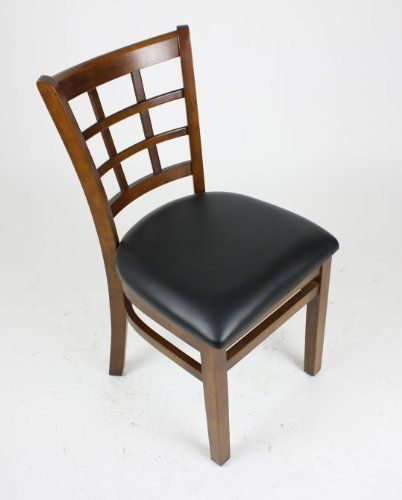lattice back style solid wood dining chair dark walnut stain by