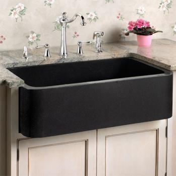 Black Farmers Sink : Polished black granite kitchen farm sink Chippendale Style Pinter ...