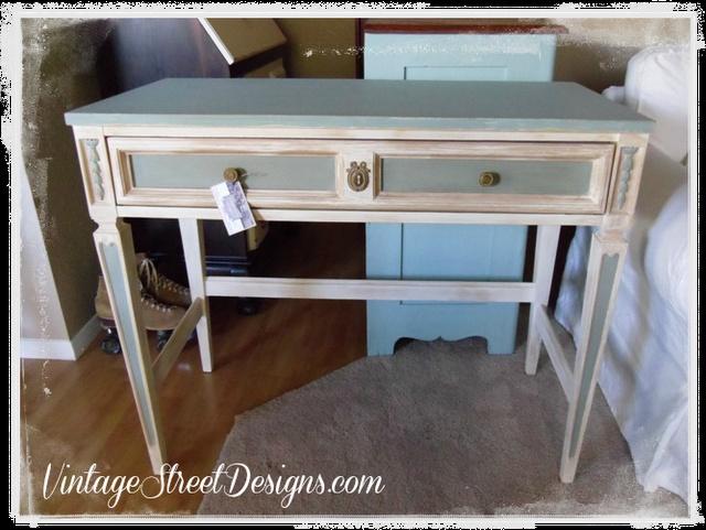 Distressed Blue & White Desk | Refinishing furniture | Pinterest