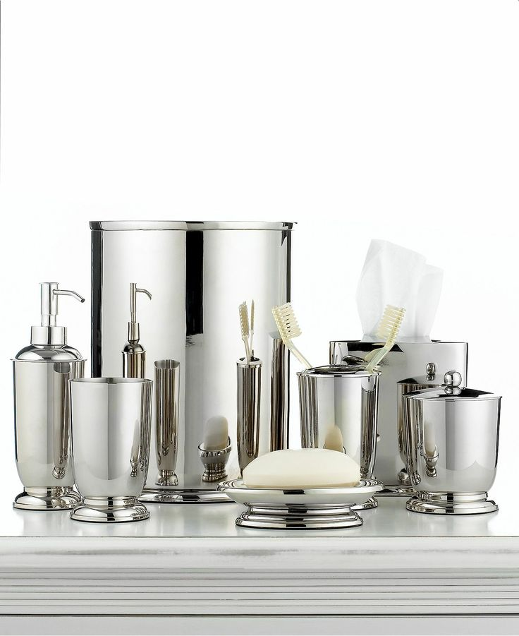Martha stewart collection polished metal bath accessories for Bathroom decor collections