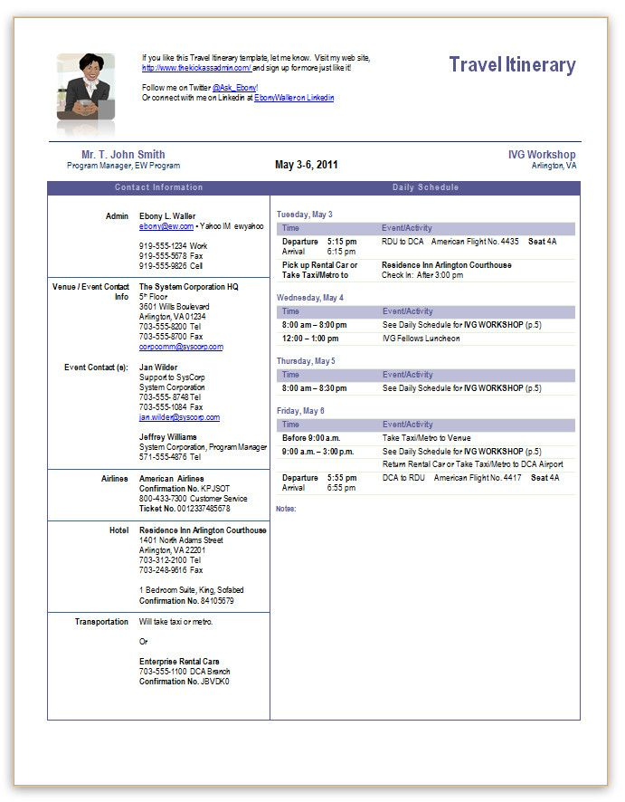Itinerary Example For Business Trip  Template