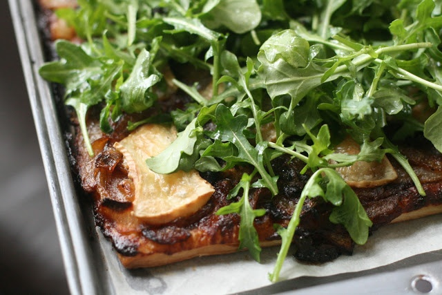 Savory Tart with Fig Butter, Caramelized Onions, Brie and Arugula