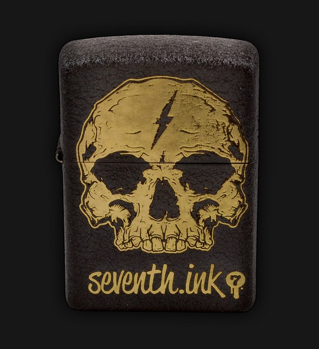 Zippo  174  lighter featuring the Seventh Ink Delirium Skull designZippo Lighter Skull Designs