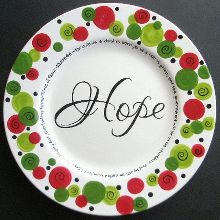 Custom Personalized HOPE Christmas Plate. $38.75, via Etsy.