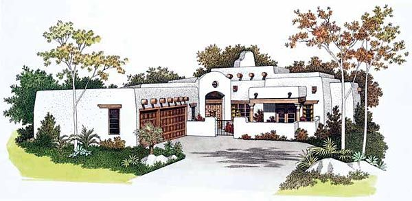 Santa fe southwest house plan 99276 for Santa fe style house plans