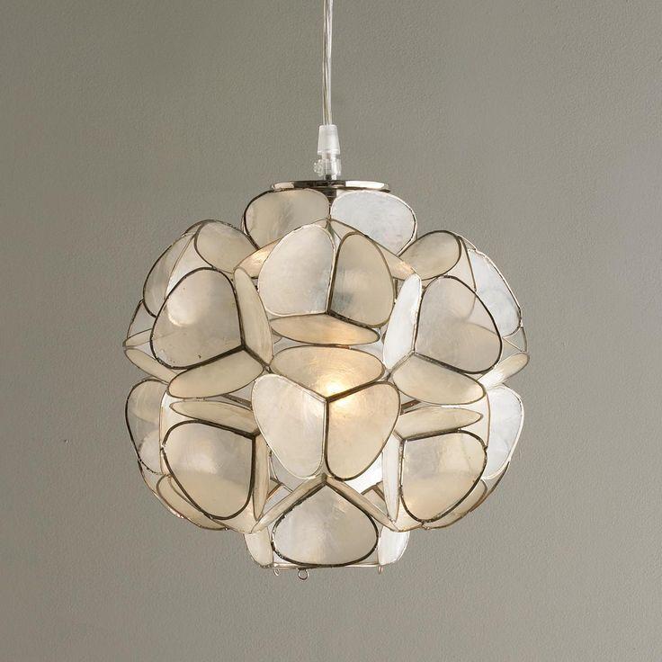 capiz shell flower pendant light. Black Bedroom Furniture Sets. Home Design Ideas