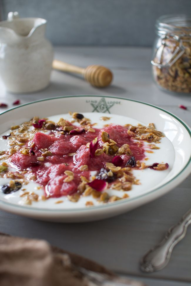 Pistachio Rose Granola, Stewed Vanilla Bean Rhubarb, and Homemade ...