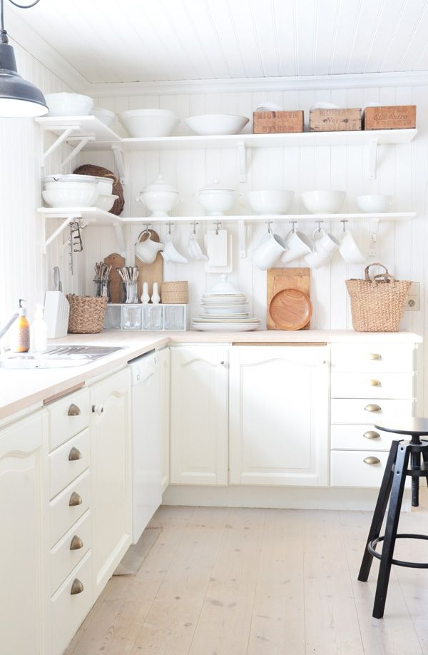 gorgeous swedish kitchen - lots of white with natural / wood accents