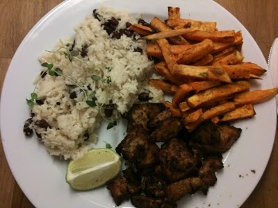 Jamaican Jerk tofu w/ coconut red beans and rice