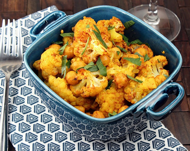 ... curry, but this seems interesting... Curried cauliflower and chickpeas