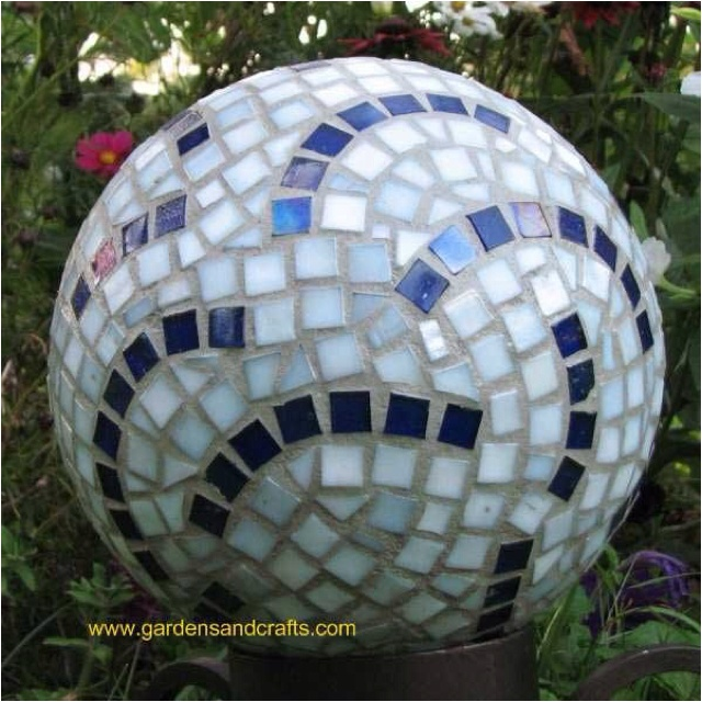 Bowling ball mosaic garden gazing balls stakes pinterest