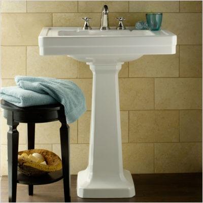 2 Pedestal Sinks Bathroom : pedestal sink, large marble ivory tiles, dark floors