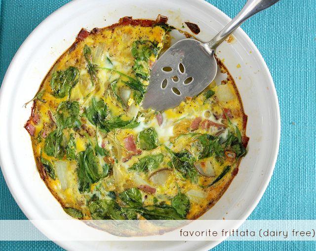 Easy ham and spinach frittata - #glutenfree #dairyfree #paleo