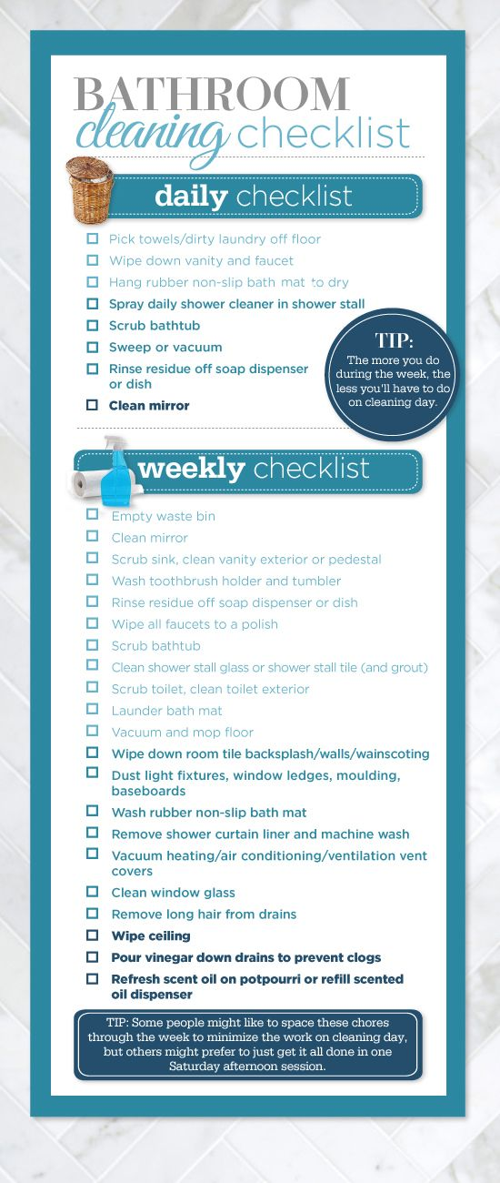 Bathroom Cleaning Schedule For The Home Pinterest