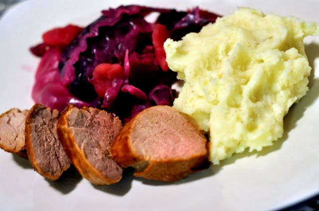 Beer-Marinated Pork Tenderloin with Red Cabbage | Taste As You Go}