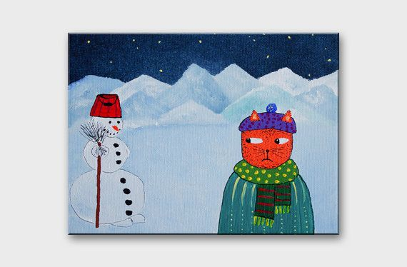 Funny CAT ART on canvas for children Winter art small cat painting for ...