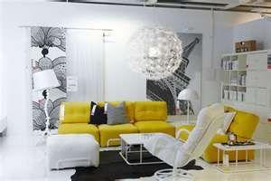 Cool yellow + black + white IKEA living room. | IKEA Rooms