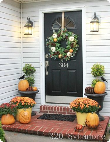 Beautiful front porch decorated for fall decorating Beautiful fall front porches