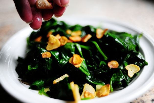 Spinach with Garlic Chips by @Ree Drummond | The Pioneer Woman
