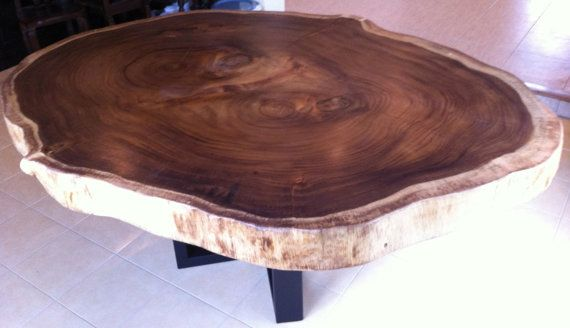 dining table reclaimed acacia wood large round rare solid slab
