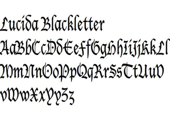 Lucida blackletter scripto decorative formal and Lucida calligraphy free