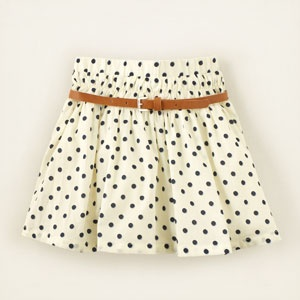 belted dot print skirt(back to school-daughter)