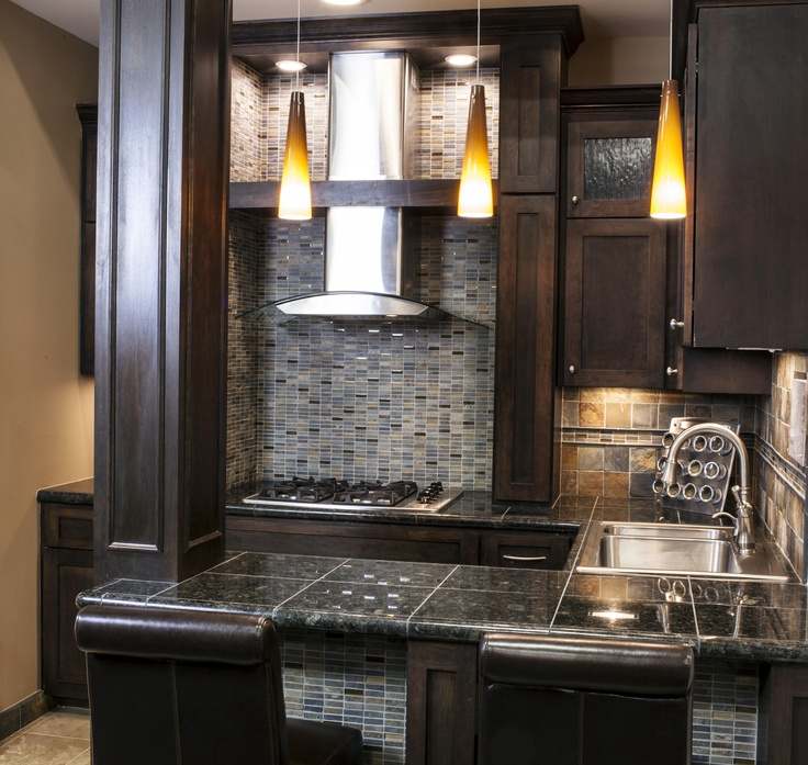 rustic but modernized slate backsplash kitchen vignettes