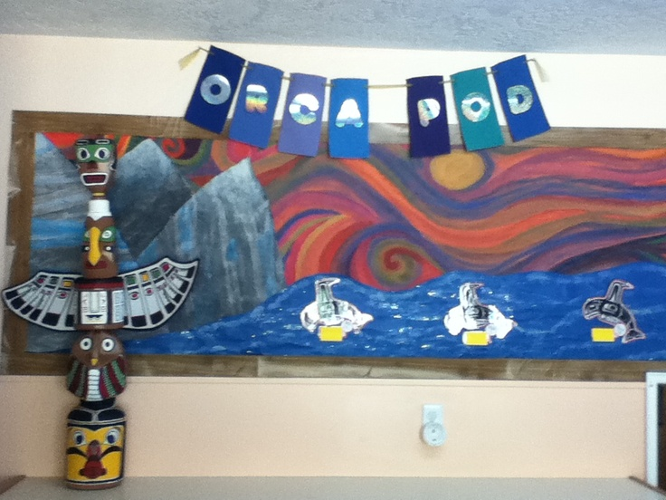 My West Coast inspired bulletin board!!! Complete with a totem pole made with recycled jugs and inspired by BC aboriginal artists. <3