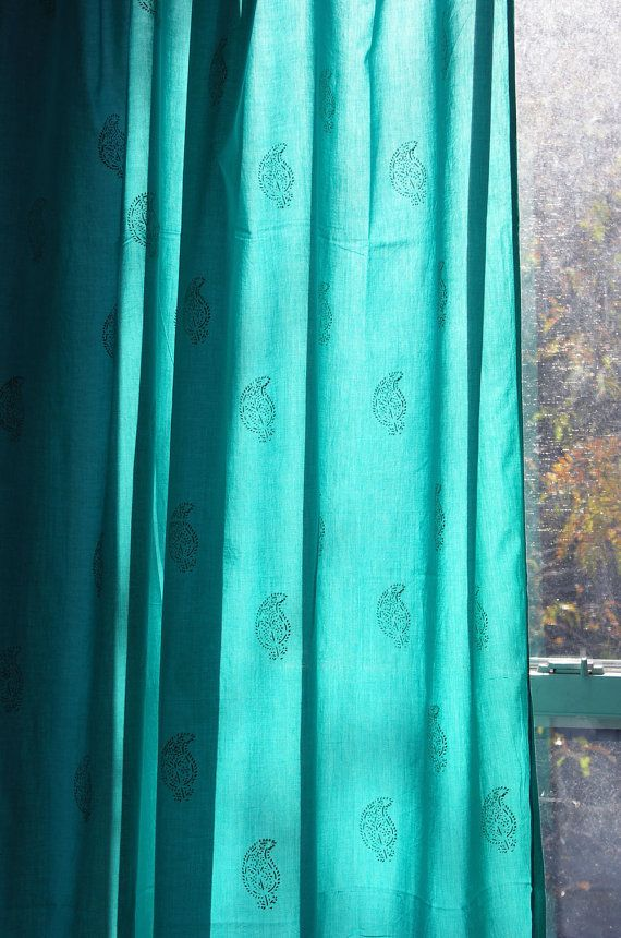 Smith And Noble Curtains Silver and Turquoise Curt