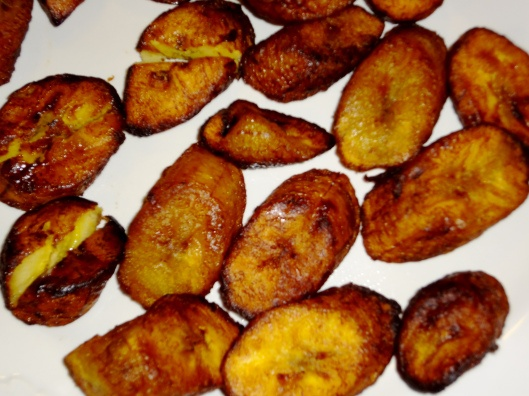 Caribbean Sweet Fried Plantains (Maduros) served with sour cream ...