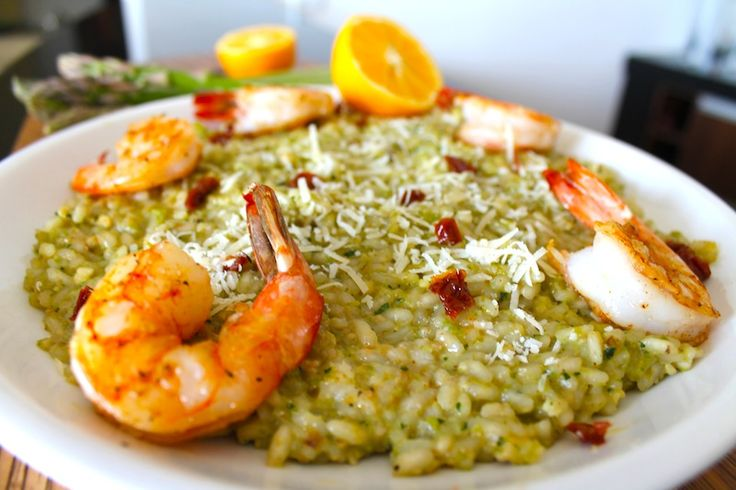 Lemon and Asparagus Pesto Risotto with Sundried Tomatoes and Shrimp