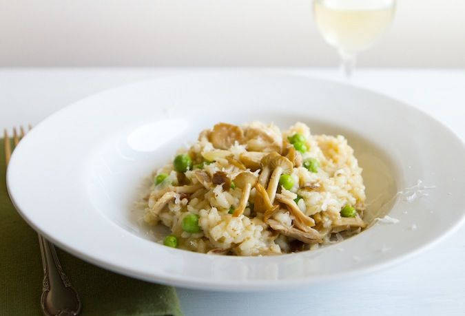 Springtime Risotto - maybe a little pecorino Romano, and some parsley ...