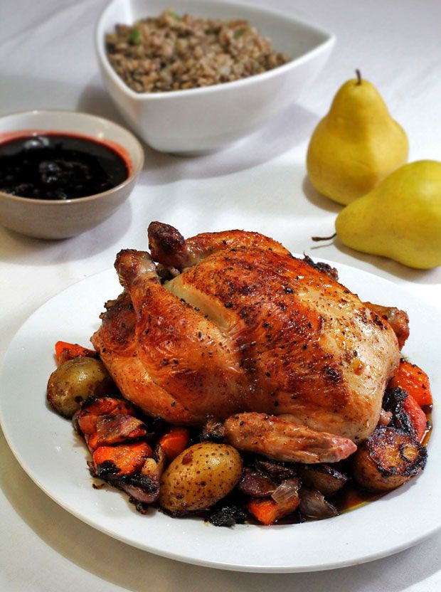 Thanksgiving Roast Chicken with Pork and Farro Stuffing, Vegetables ...