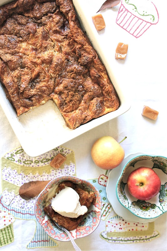 Salted Caramel Croissant Bread Pudding - just put it in the oven, made ...